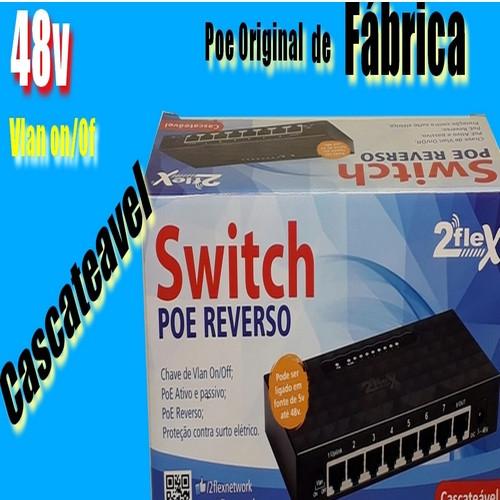 Switch Vlan Poe reverso 10/100 48v